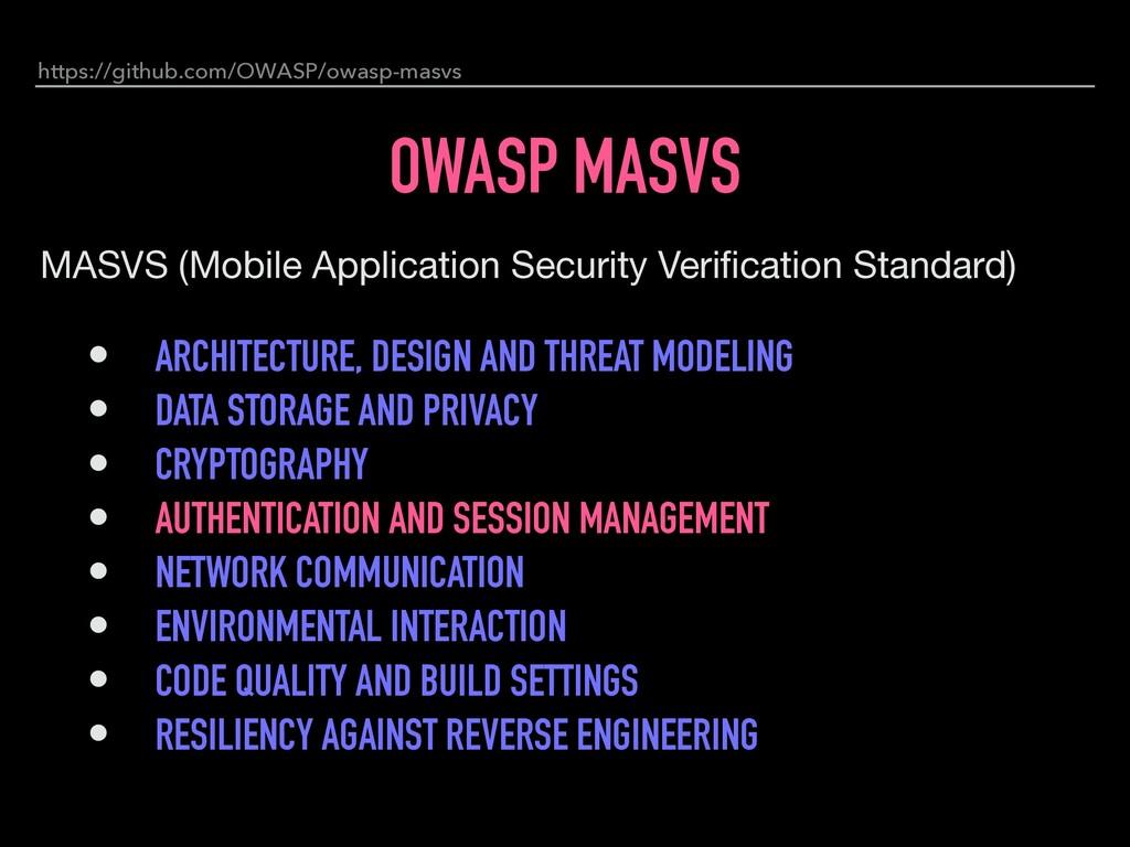 OWASP MASVS MASVS (Mobile Application Security ...