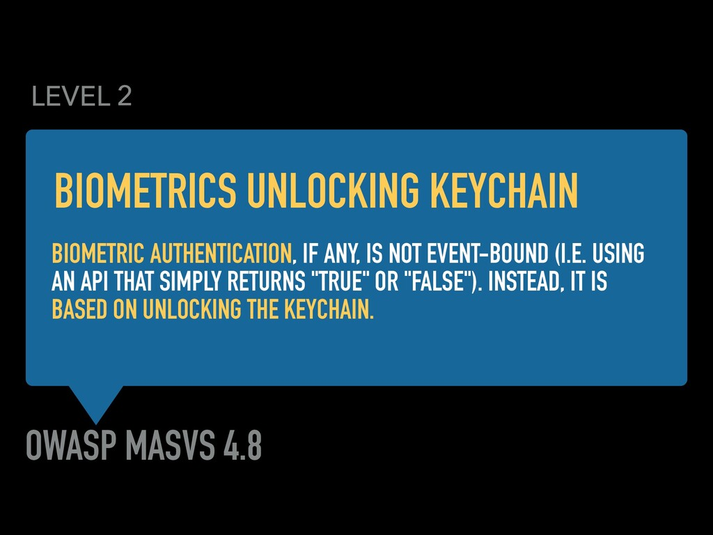 OWASP MASVS 4.8 BIOMETRIC AUTHENTICATION, IF AN...