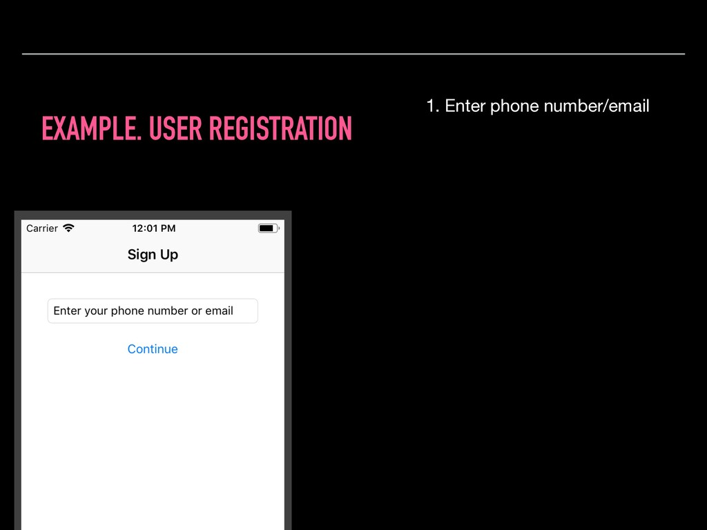 EXAMPLE. USER REGISTRATION 1. Enter phone numbe...