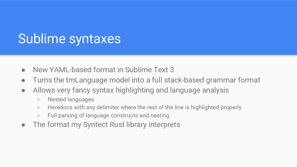 Sublime syntaxes ● New YAML-based format in Sub...