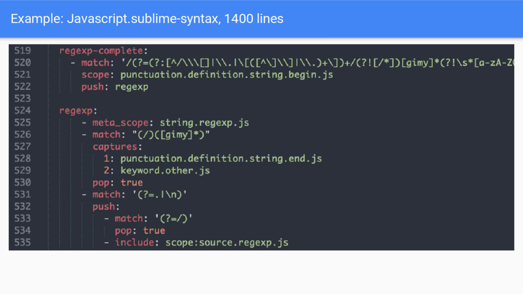 Example: Javascript.sublime-syntax, 1400 lines