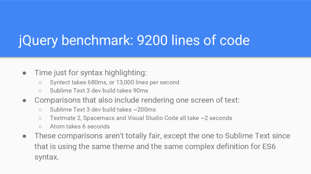jQuery benchmark: 9200 lines of code ● Time jus...