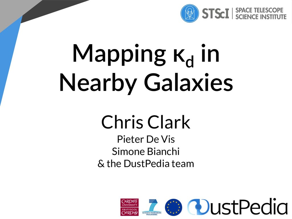 Mapping κd in Nearby Galaxies Chris Clark Piete...