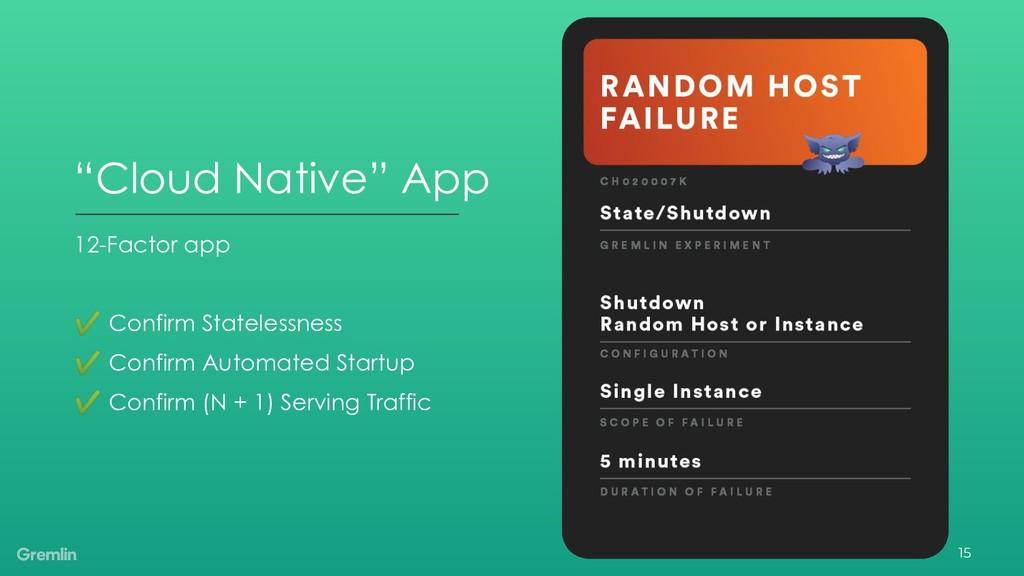 12-Factor app ✔ Confirm Statelessness ✔ Confirm...