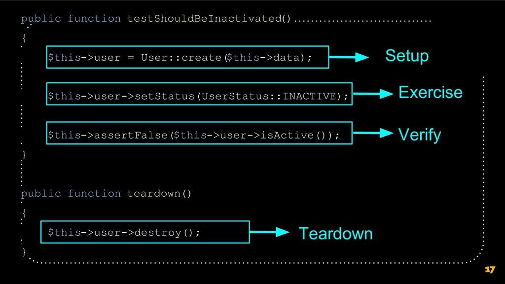 17 public function testShouldBeInactivated () {...