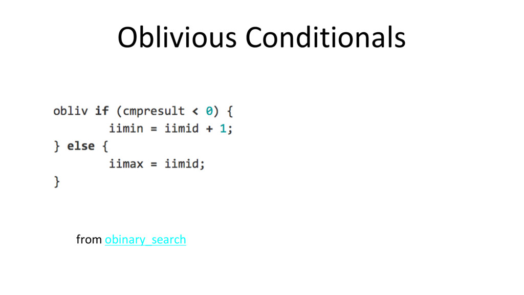 Oblivious Conditionals from obinary_search