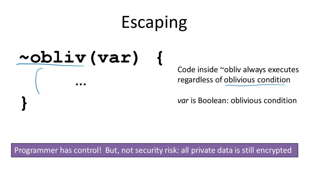 Escaping ~obliv(var) { … } Code inside ~obliv a...