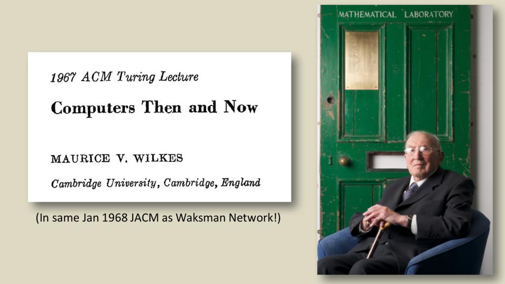 30 (In same Jan 1968 JACM as Waksman Network!)