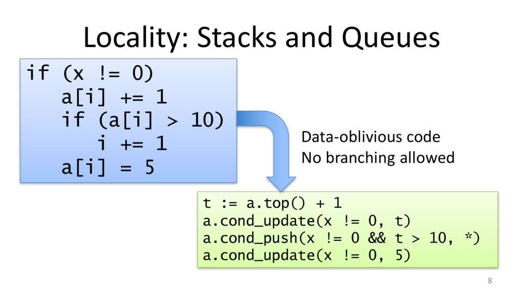 Locality: Stacks and Queues 8 if (x != 0) a[i] ...