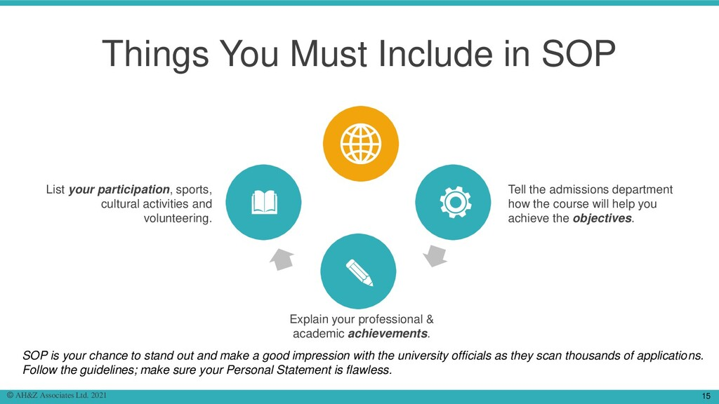 Things You Must Include in SOP List your partic...