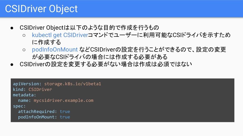 CSIDriver Object ● CSIDriver Objectは以下のような目的で作成...
