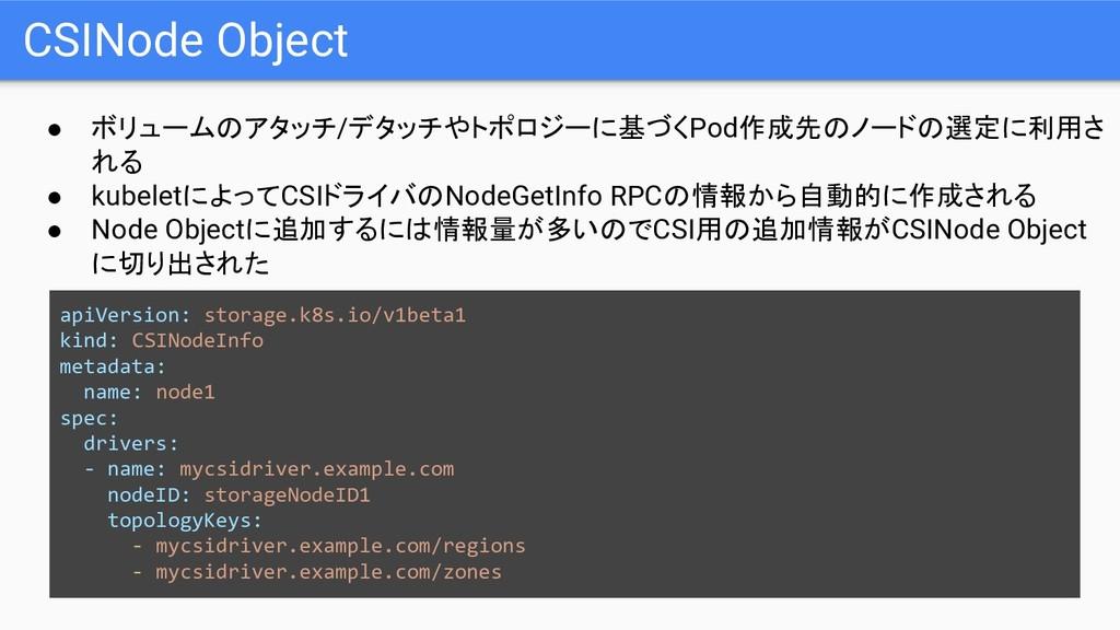 CSINode Object ● ボリュームのアタッチ/デタッチやトポロジーに基づくPod作成...