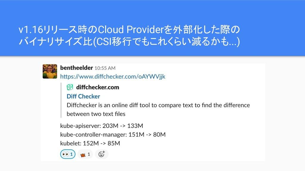 v1.16リリース時のCloud Providerを外部化した際の バイナリサイズ比(CSI移...