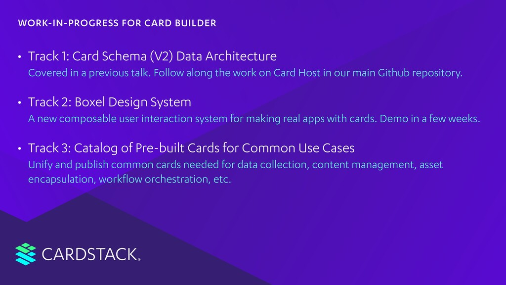 CARDSTACK • Track 1: Card Schema (V2) Data Arch...
