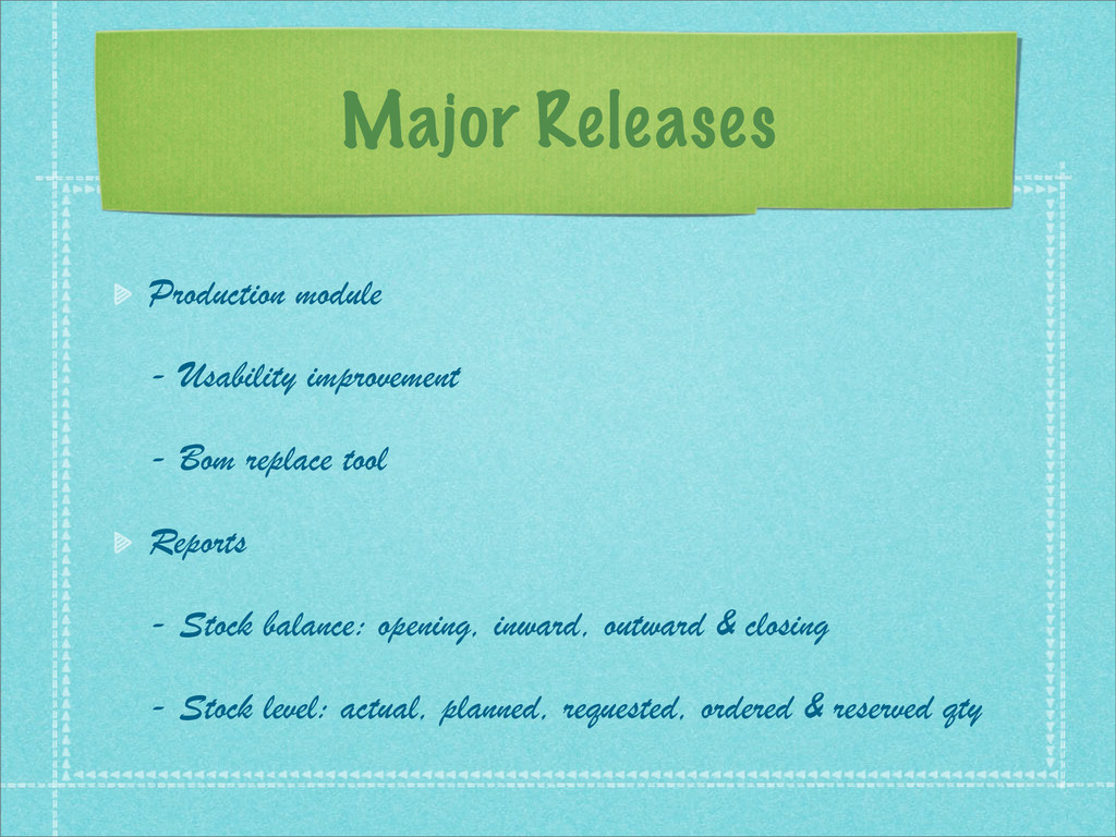 Major Releases Production module - Usability im...