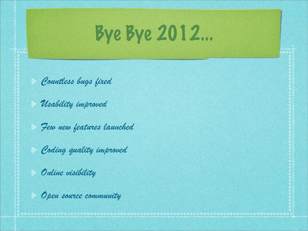 Bye Bye 2012... Countless bugs fixed Usability ...