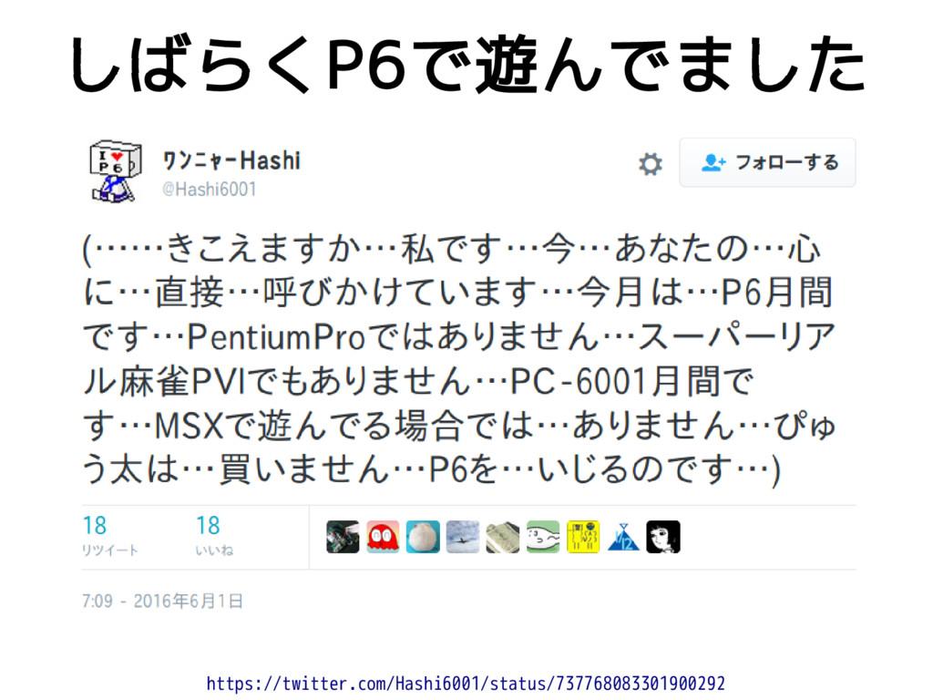 しばらくP6で遊んでました https://twitter.com/Hashi6001/sta...