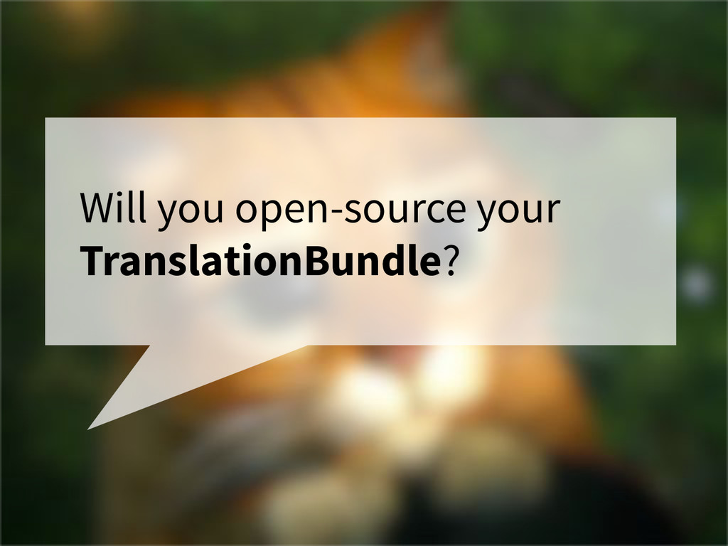 Will you open-source your TranslationBundle?
