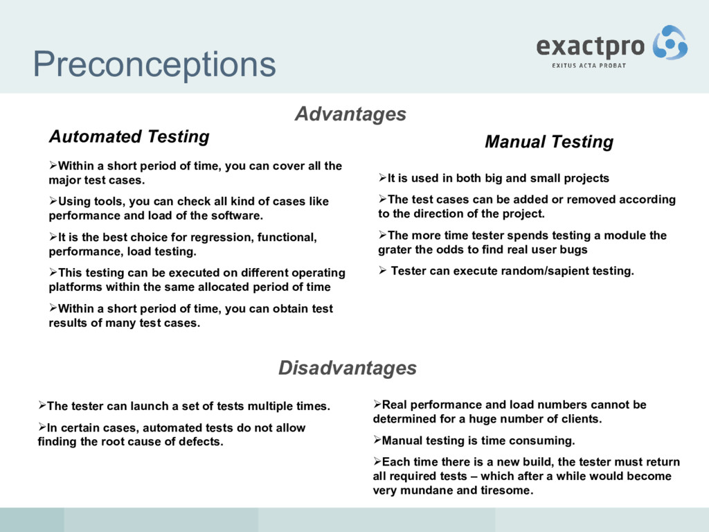 Preconceptions Advantages Automated Testing Man...
