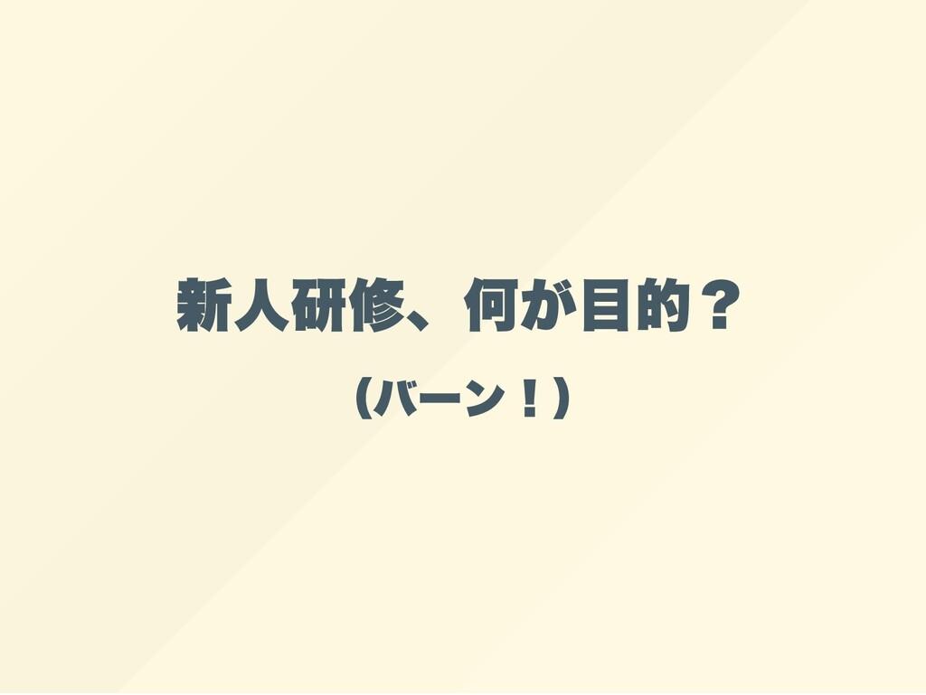 新人研修、何が目的? (バーン!)