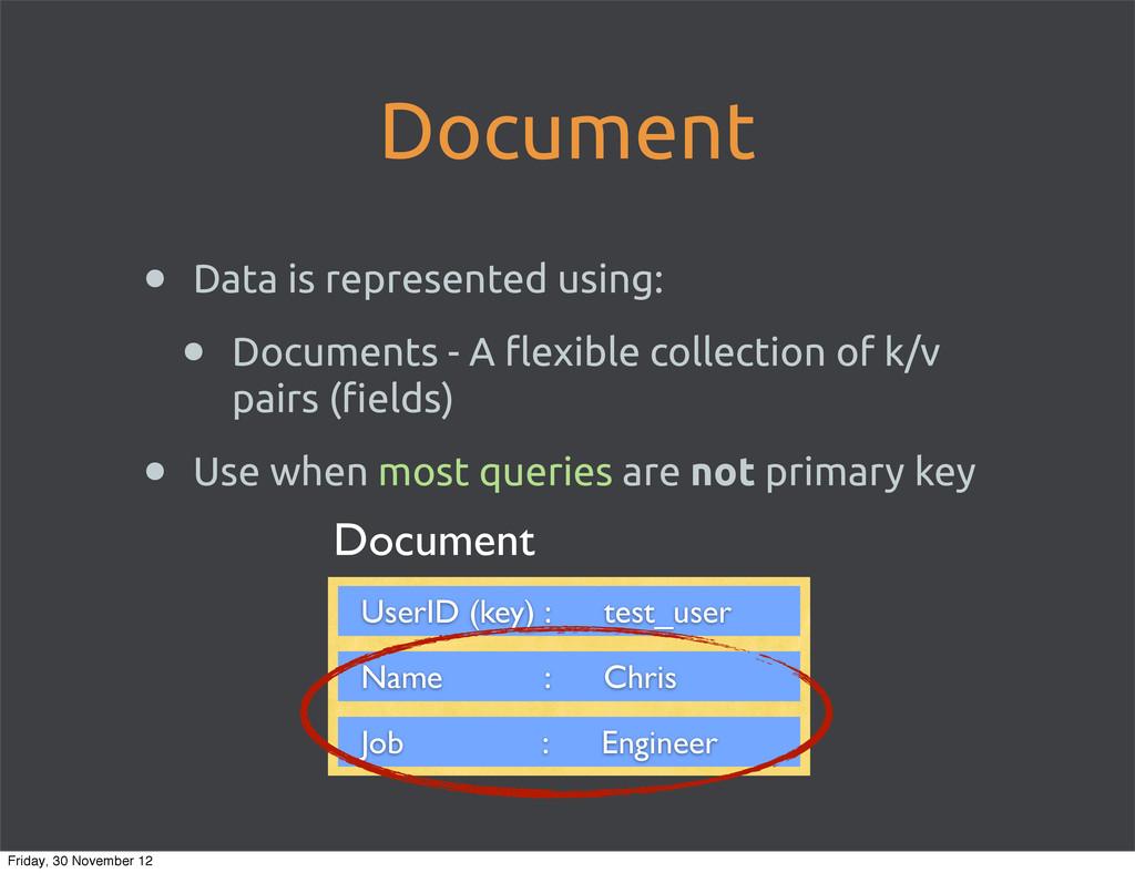 Document • Data is represented using: • Documen...