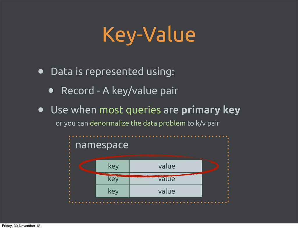 Key-Value • Data is represented using: • Record...