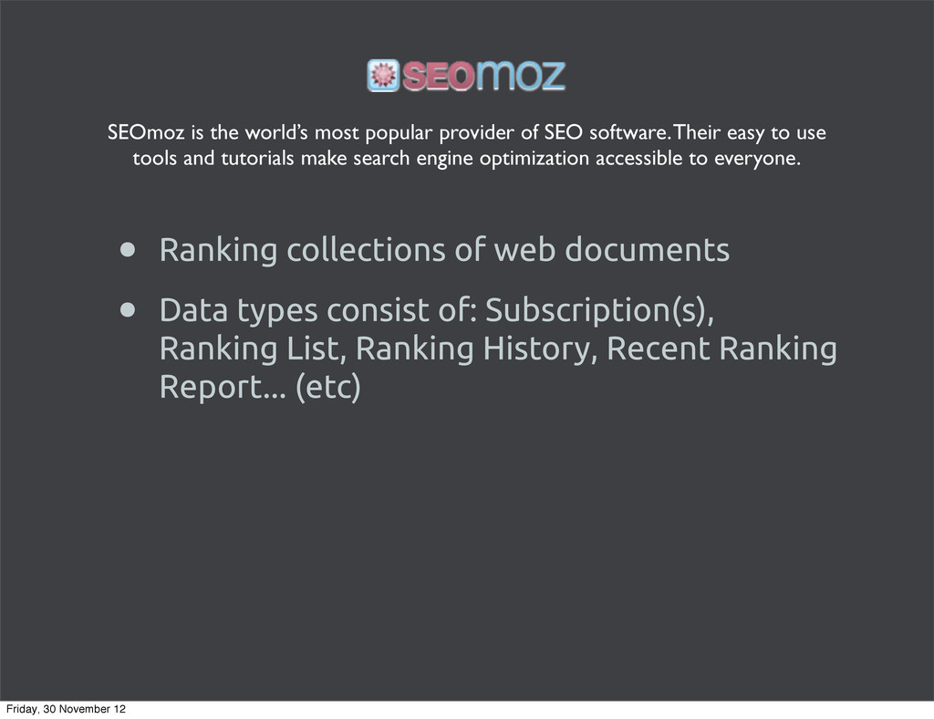 • Ranking collections of web documents • Data t...