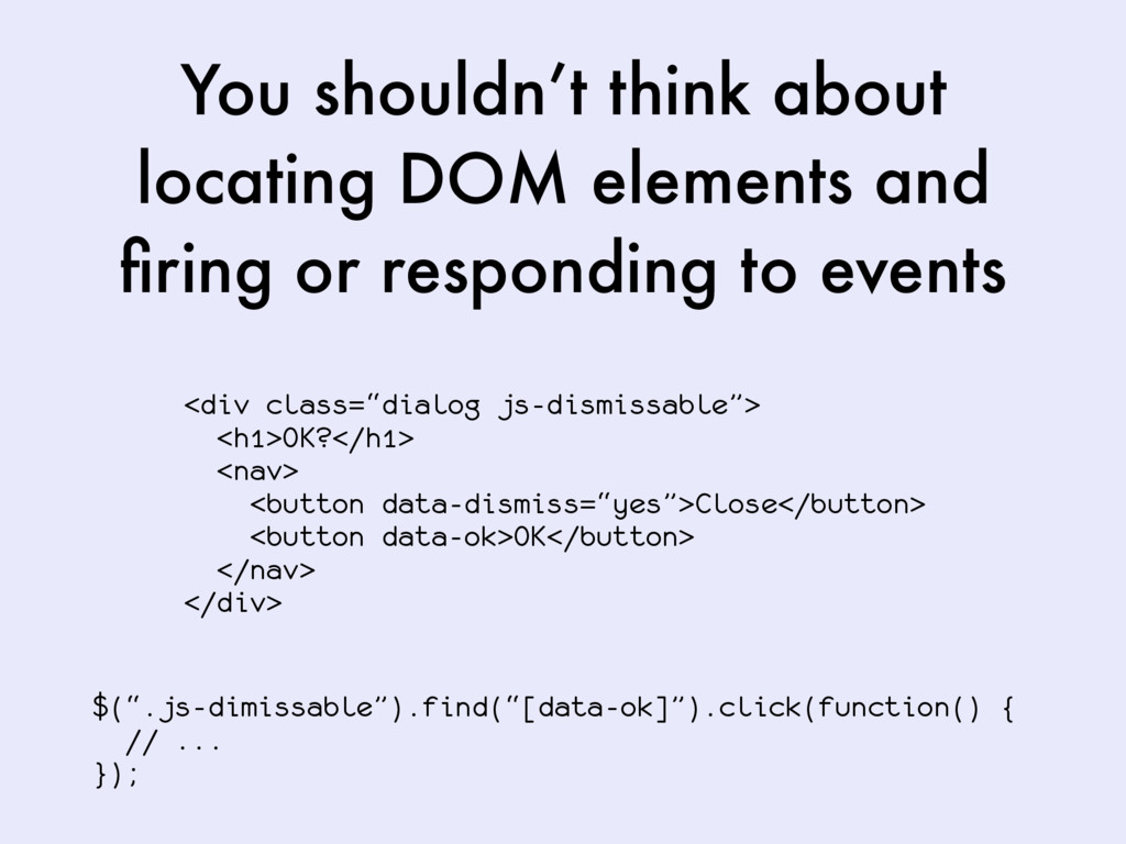 You shouldn't think about locating DOM elements...