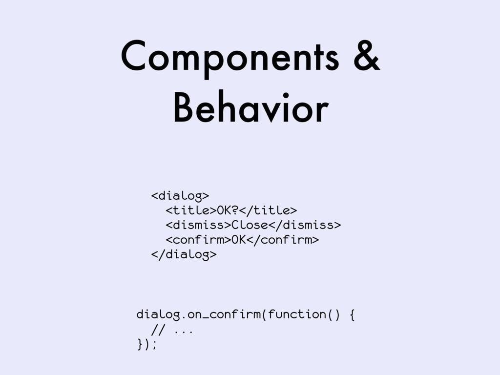 Components & Behavior <dialog> <title>OK?</titl...
