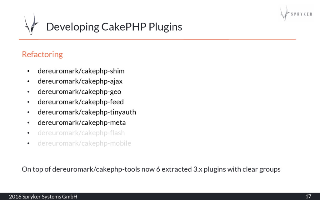 Developing CakePHP Plugins 2016 Spryker Systems...