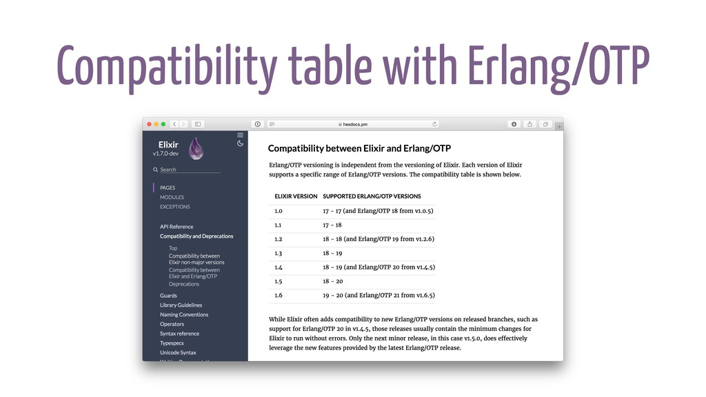 Compatibility table with Erlang/OTP