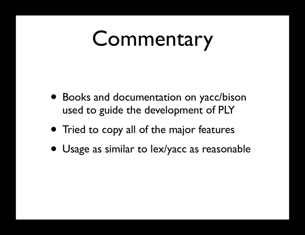 Commentary • Books and documentation on yacc/bi...