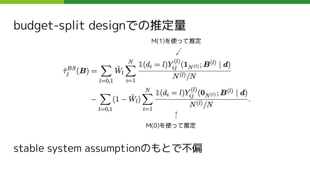 budget-split designでの推定量 M(0)を使って推定 M(1)を使って推定 ...