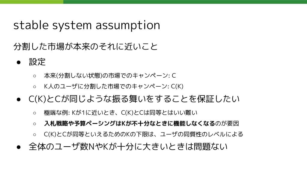 stable system assumption 分割した市場が本来のそれに近いこと ● 設定...
