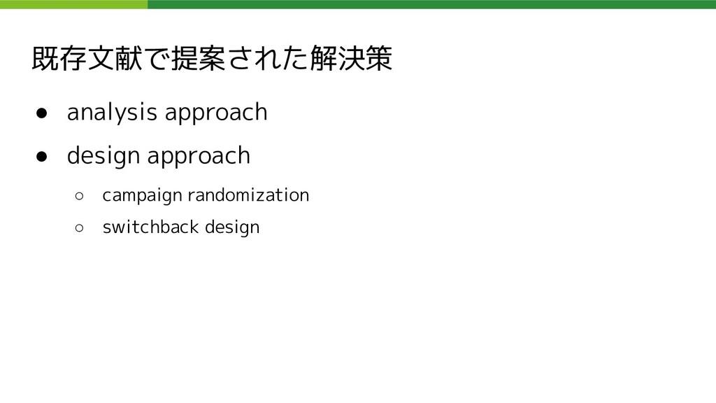 既存文献で提案された解決策 ● analysis approach ● design appr...
