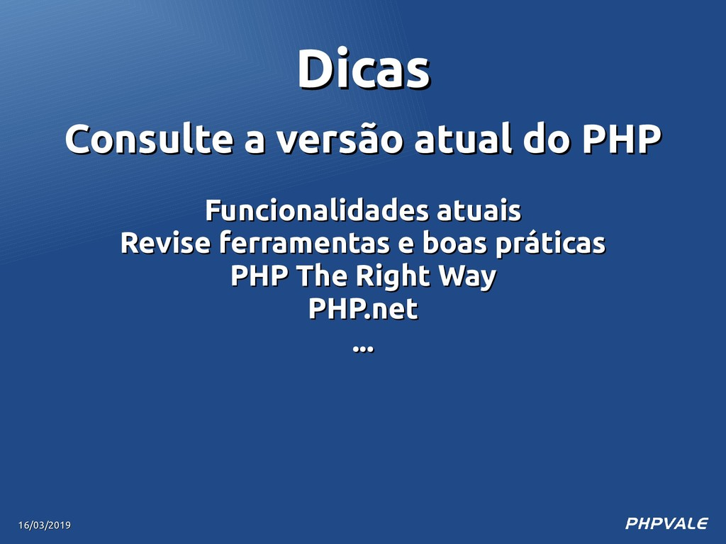 Consulte a versão atual do PHP Consulte a versã...