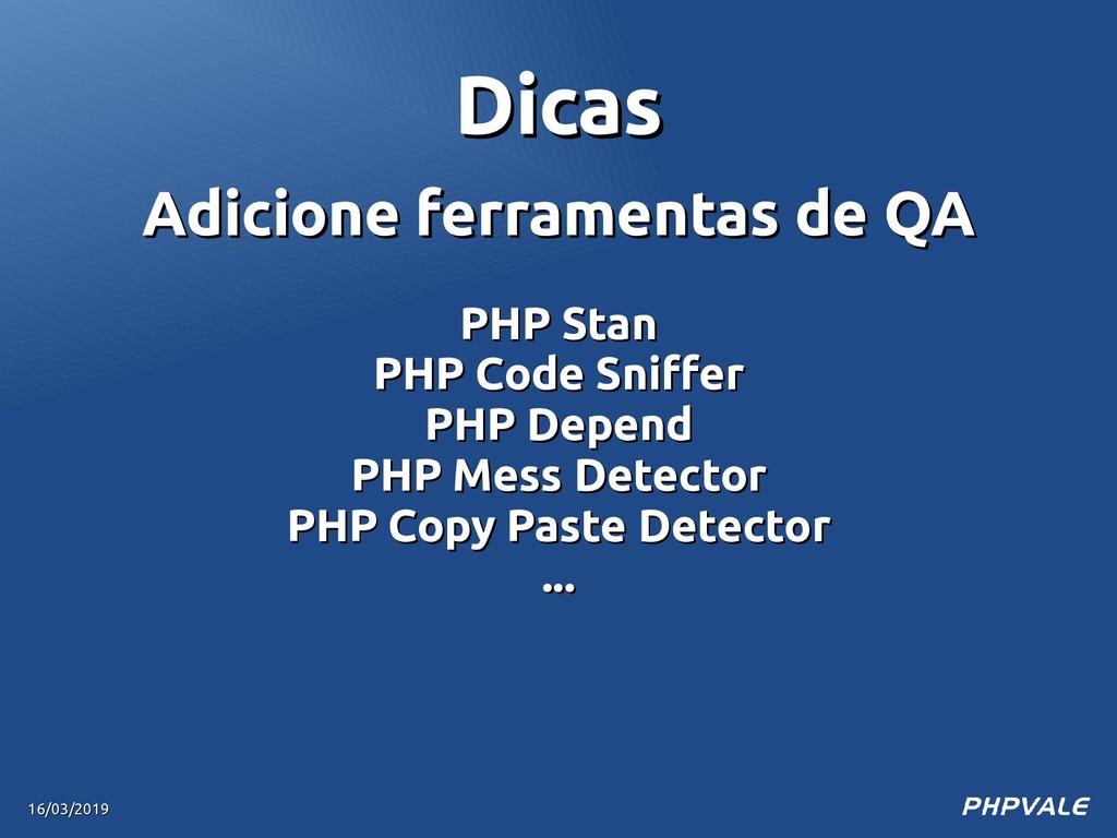 Adicione ferramentas de QA Adicione ferramentas...