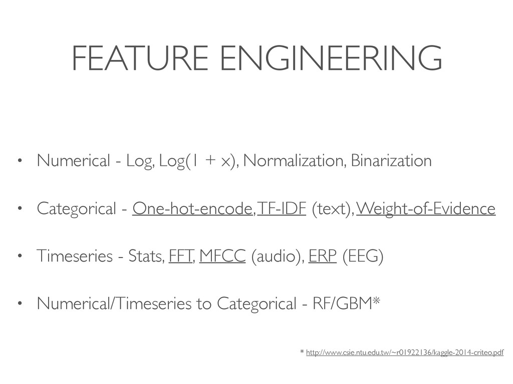 FEATURE ENGINEERING • Numerical - Log, Log(1 + ...
