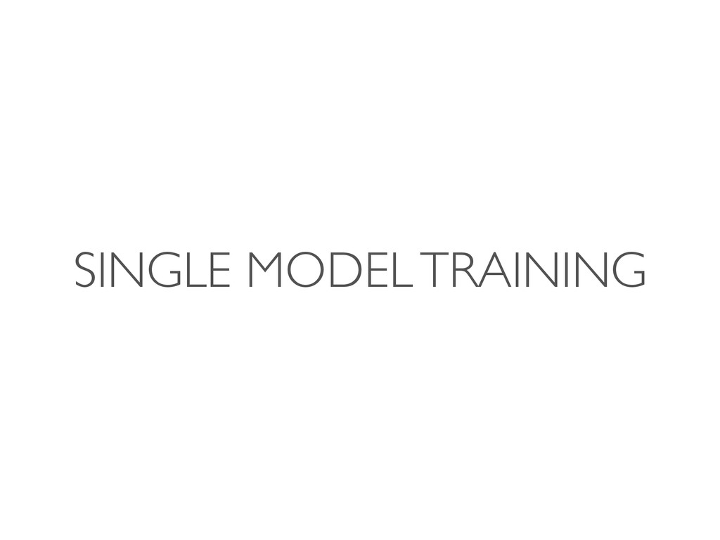 SINGLE MODEL TRAINING