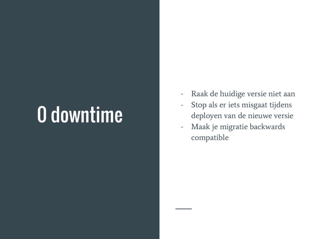 0 downtime - Raak de huidige versie niet aan - ...