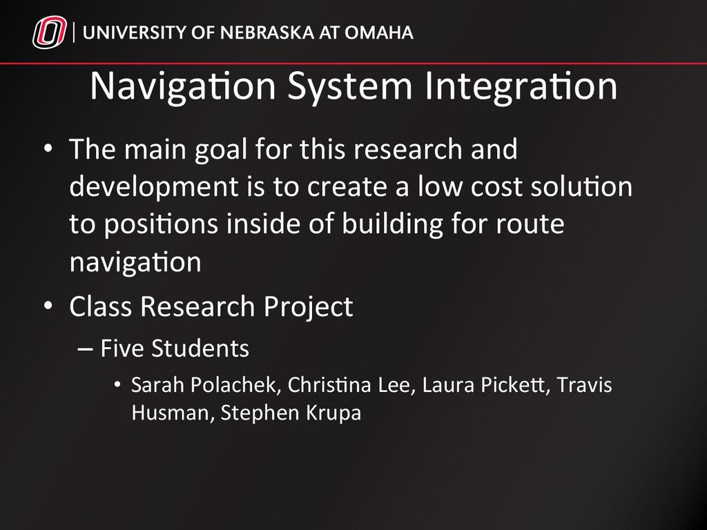 Naviga%on System Integra%on  • The ...