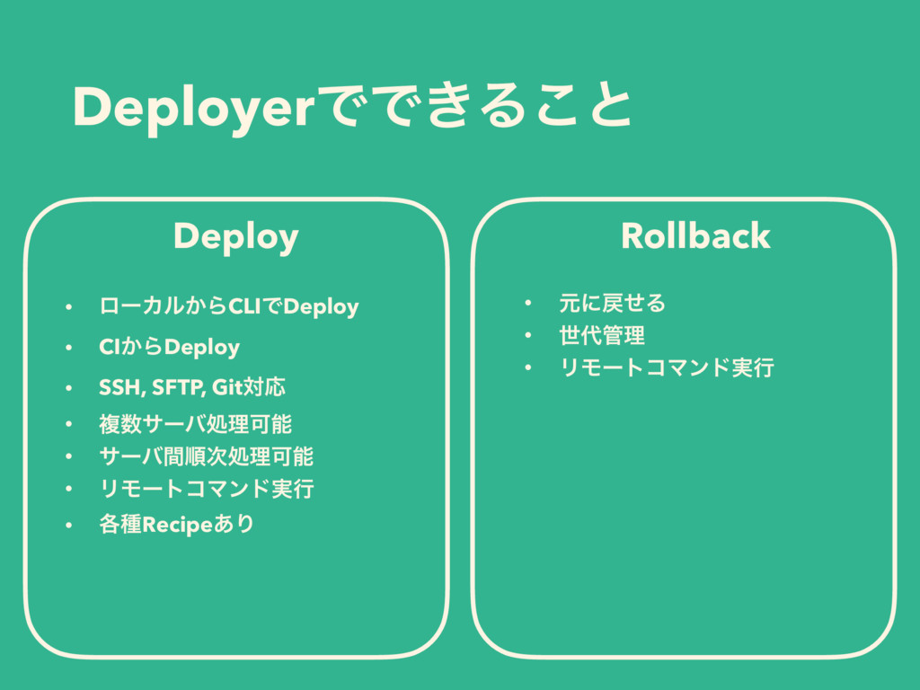 DeployerͰͰ͖Δ͜ͱ Deploy Rollback • ϩʔΧϧ͔ΒCLIͰDepl...