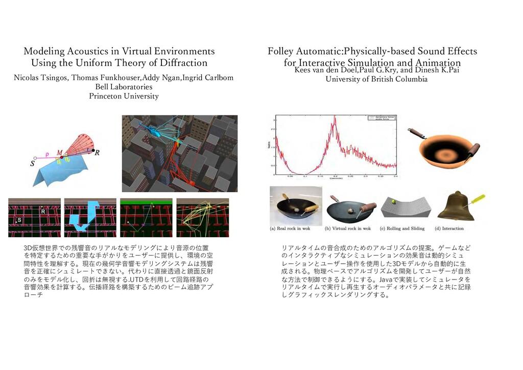 3D仮想世界での残響⾳のリアルなモデリングにより⾳源の位置 を特定するための重要な⼿がかりをユ...