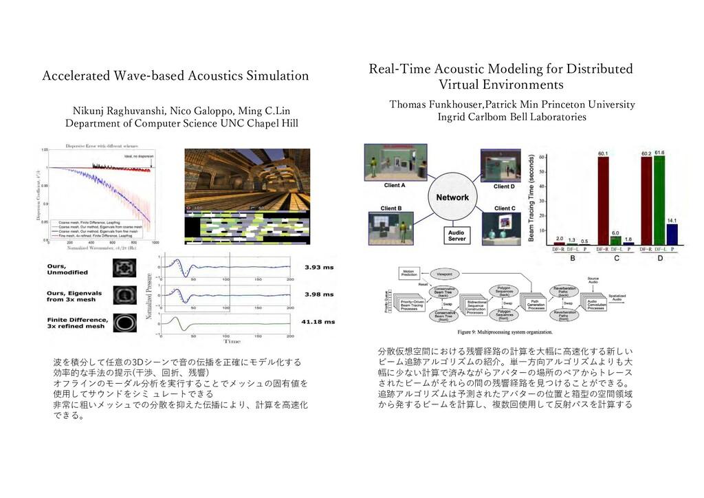 分散仮想空間における残響経路の計算を⼤幅に⾼速化する新しい ビーム追跡アルゴリズムの紹介。単⼀...