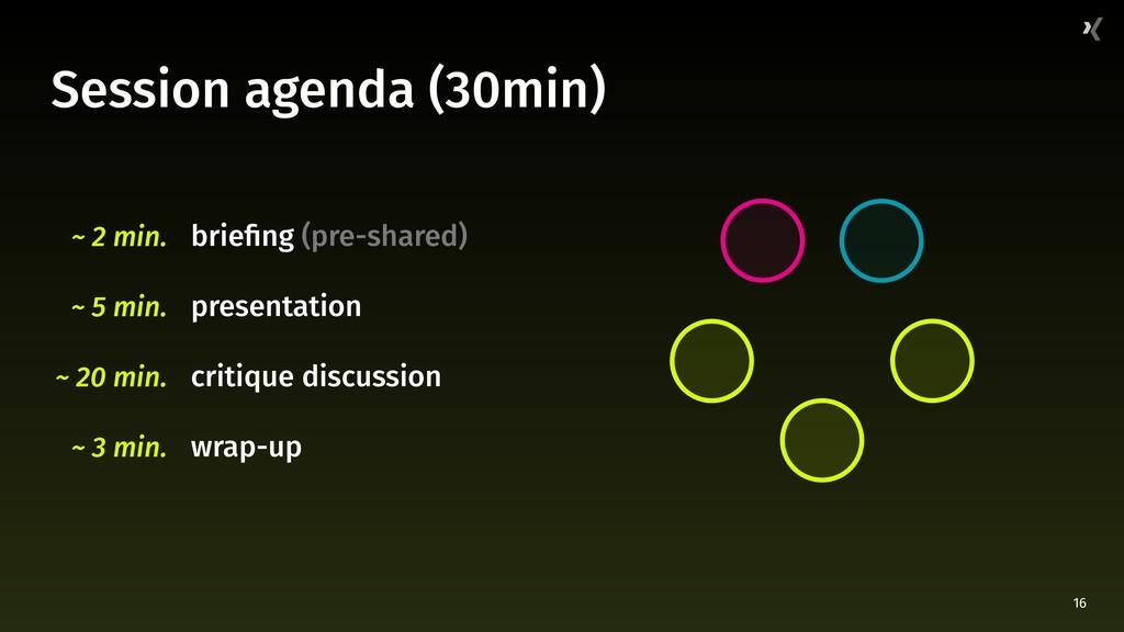 16 Session agenda (30min) briefing (pre-shared)...