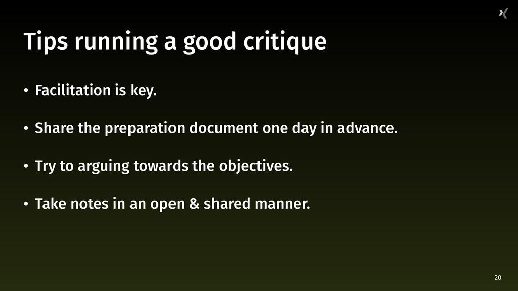 20 Tips running a good critique • Facilitation ...