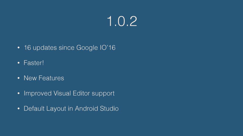 1.0.2 • 16 updates since Google IO'16 • Faster!...