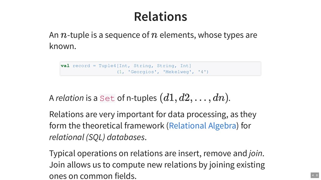 Relations An -tuple is a sequence of elements, ...
