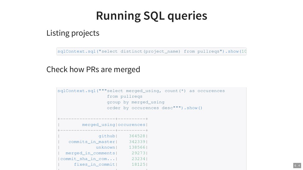 Running SQL queries Listing projects Check how ...