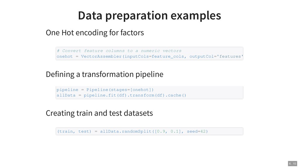Data preparation examples One Hot encoding for ...